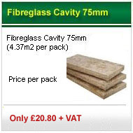 20 packs 75mm fibreglass cavity slabs (4.37m2 pack) only £278.00 +VAT