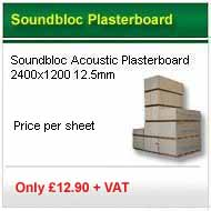 25 sheet deal 2400x1200x12.5mm soundbloc acoustic plasterboard only £179.00+VAT