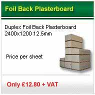 25 sheets 2400x1200x12.5mm foil backed plasterboard only £195.56 +VAT