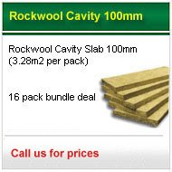 16 packs 100mm rockwool cavity slab (3.28m2 pack) only £255.00 +VAT