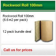 12 packs 100mm Rockwool Roll (6.60m2 pack) only £302.00 +VAT